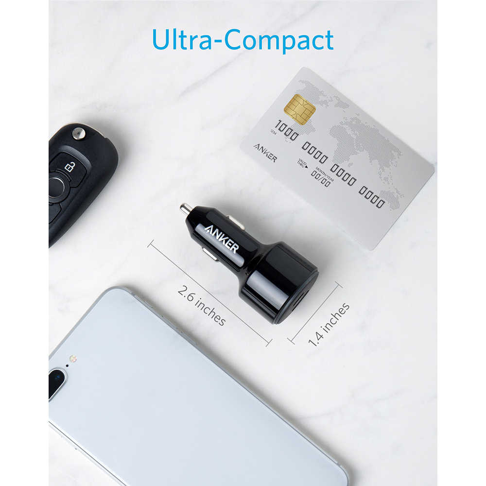 Anker 49.5 واط PowerDrive سرعة 2 USB C شاحن سيارة ، واحد 30 واط PD ميناء ل ماك بوك باد آيفون و 19.5 واط سريع تهمة ميناء ل S9/S8 الخ