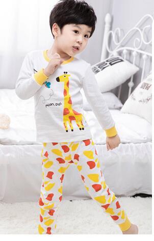 High quality pullover Long Sleeve Giraffe Cartoon Boys Girls Clothes adorable cotton Baby's Sets many colors WNR1-WNR11 am pm kids pullover bib with washcloth giraffe
