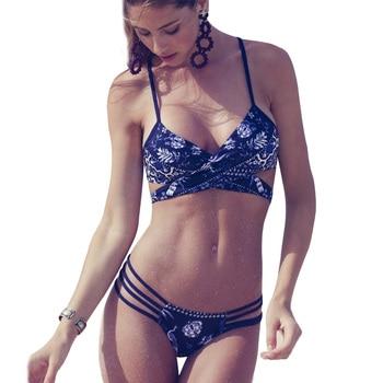 Retro Printed Criss Cross Sexy Bikini 1