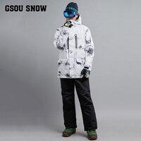 Gsou снег Для мужчин лыжный костюм ветрозащитная Водонепроницаемый Лыжный Спорт сноуборд куртка брюки супер теплая верхняя спортивная одежд