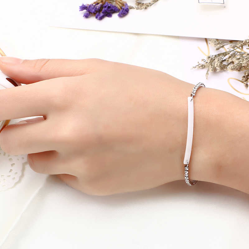 2019 di Nuovo Modo di Ceramica di Cristallo di Amore Bracciale In Acciaio Oro Rosa Bianco Nero Dei Braccialetti Dei Braccialetti per le donne All'ingrosso