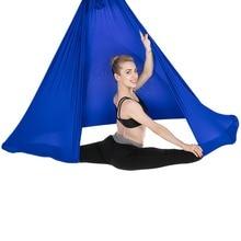 цена 6*2.8m Yoga Pilates Flying Swing Anti-Gravity Yoga Hammock Hanging Belt Aerial Traction Device GYM Body Building Equipment