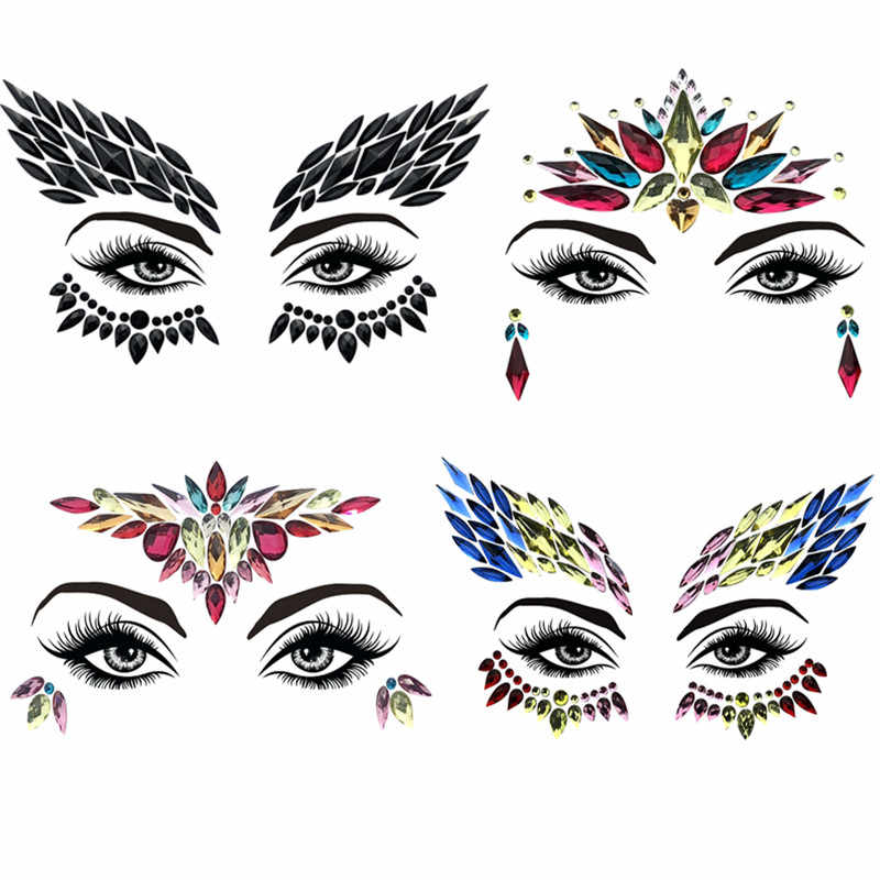 Adhesive Face Gems Rhinestone Temporary Tattoo Jewels Festival Party Body  Glitter Flash Temporary Tattoos Stickers Makeup c17980bfd3e6