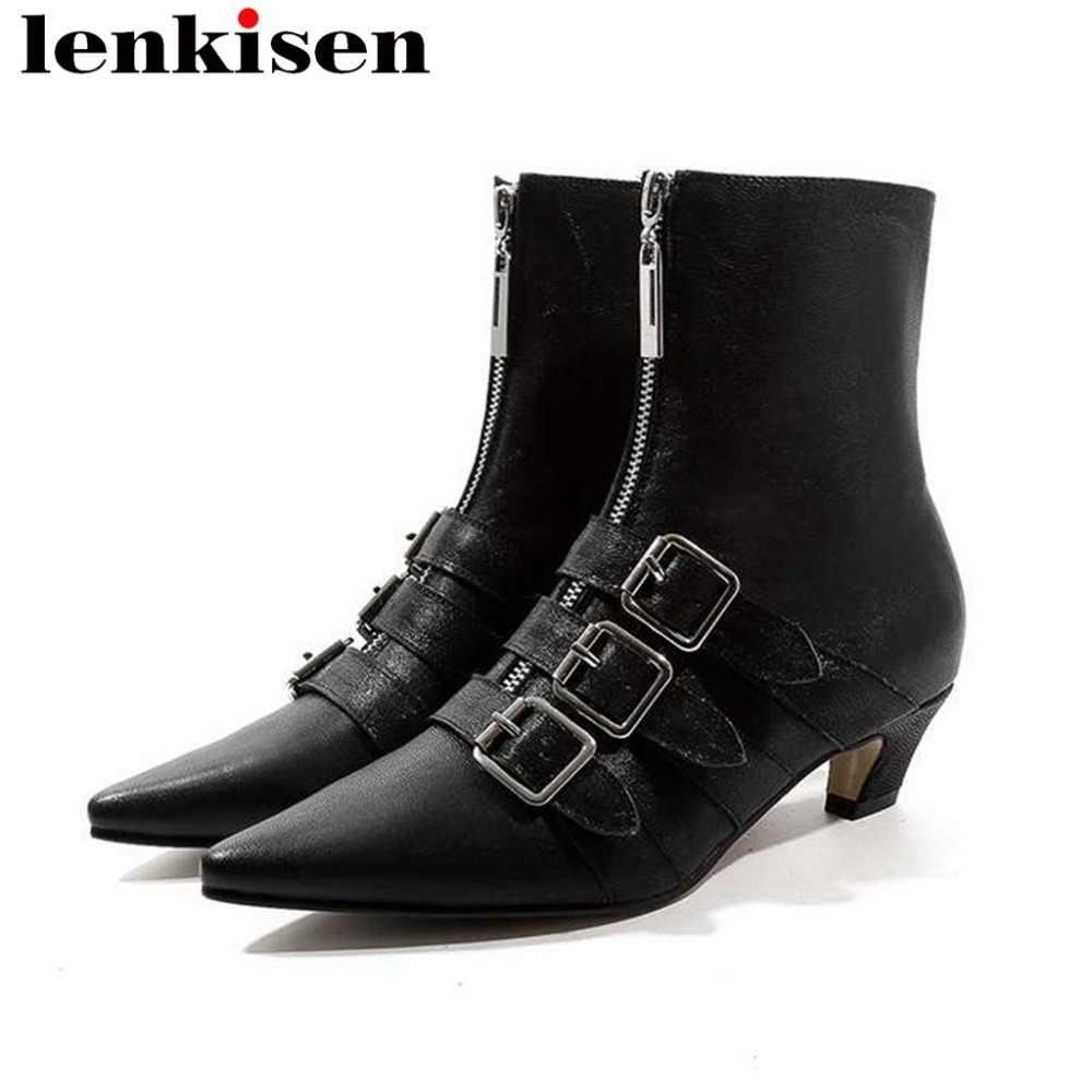 2018 рок пряжки для девочек ремни дизайн овечья кожа; женские оксфорды из натуральной кожи; обувь с острым носком в британском стиле; Роскошные; большие размеры на среднем каблуке, ботинки до середины икры L23