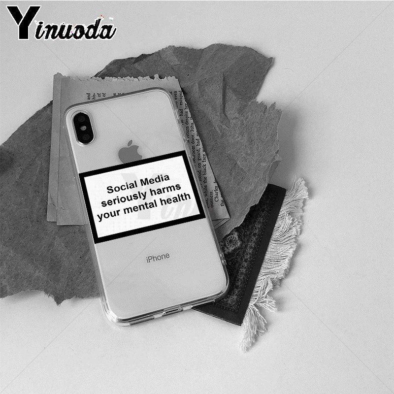 Image 3 - Yinuoda Social Media seriously harms your mental Pattern TPU Soft Case for iPhone X XS XR XSMax 6 6S 7 7plus 8 8Plus Xs 5 5s-in Half-wrapped Cases from Cellphones & Telecommunications