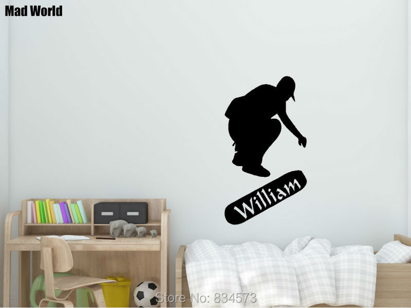 Mad world personalised name skateboard children wall art stickers wall decal home diy decoration removable decor wall stickers in wall stickers from home