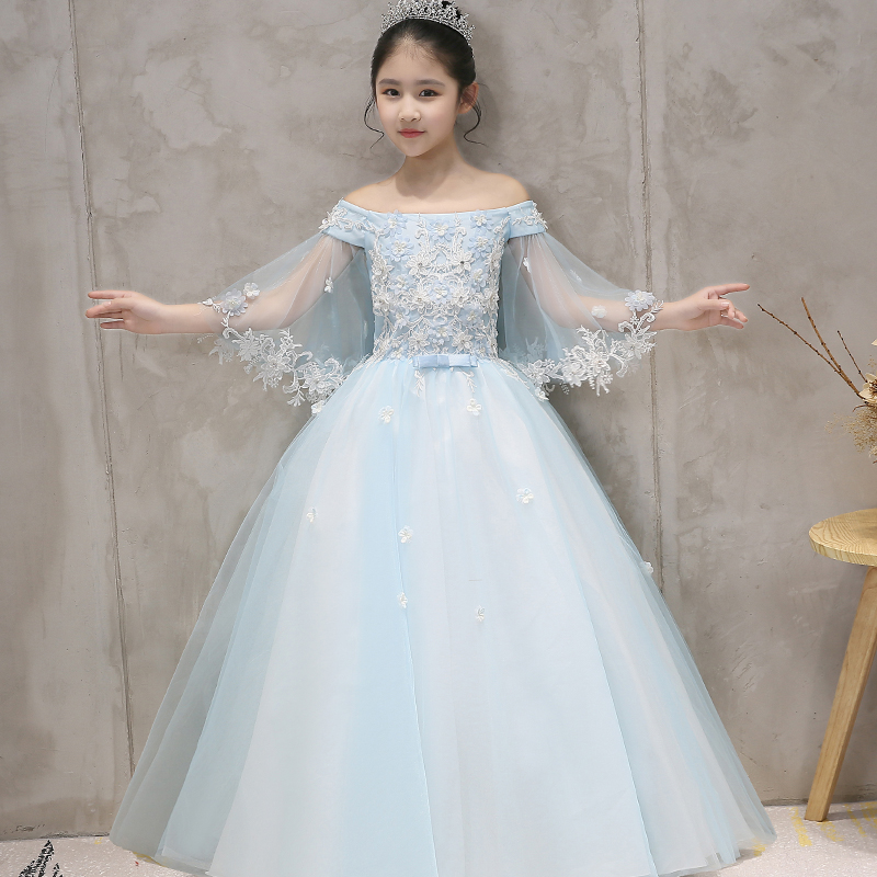 2018 New High Quality Solid Blue Color Children Girls Fashion Birthday Wedding Party Flowers Princess Long Dress Kids Prom Dress new high quality children girls red color shoulderless princess dress kids birthday wedding party mesh dress school player dress