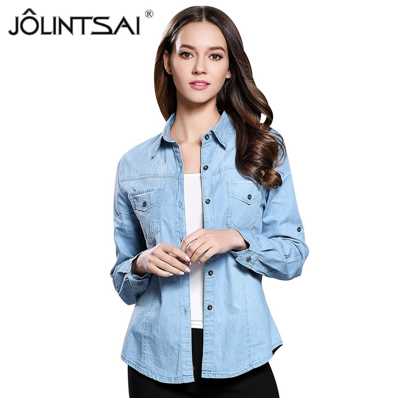 db4bebced Europe Style 2017 New Fashion Slim Women Light Blue Casual Washed Cotton  Denim Blouses Long Sleeve Jeans Shirt Tops Femininas
