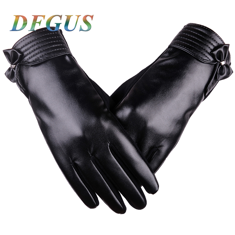 Fashion Female Gloves Bow Full Finger Winter Gloves Smartphone Touch Screen Warm Mittens Outdoor Sports Ridding Gloves