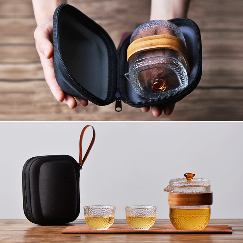High temperature resistant glassTea set one pot two cups Travel tea set Household outdoor carrying case