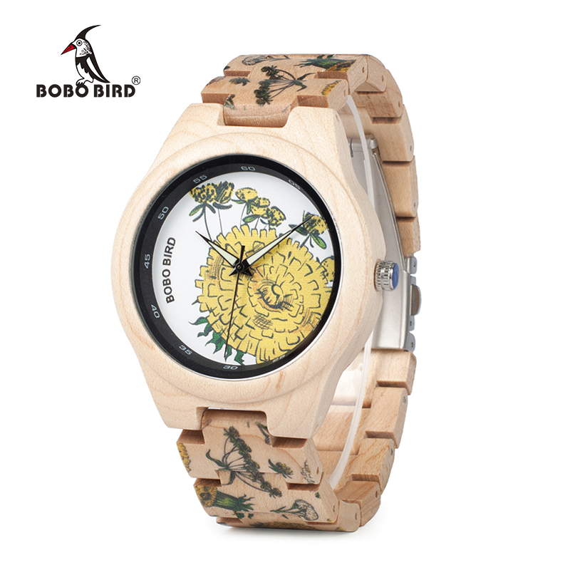 BOBO BIRD WP07 Colorful Print Wood Watch for Men Women Yellow Mum Pine Wooden Band Quartz Watches as Gift