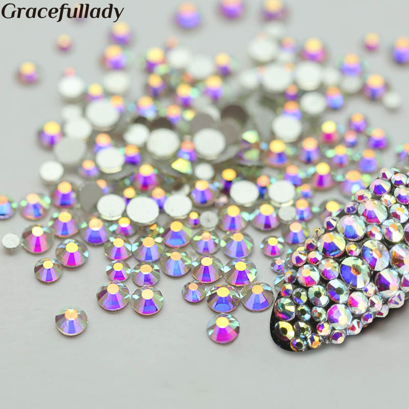 Super Glitter Crystal AB Rhinestones Flat Back Glass Chameleon Եղունգների rhinestones For Charms 3D Nails Art Decorations Strass