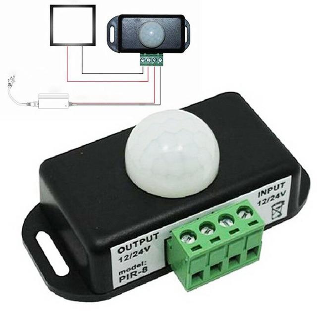 Interruptor automático de Sensor de movimiento PIR infrarrojo de 120 grados, 12V 24V, 8A, para luz LED, 5 ~ 8 M, Sensor Detector de movimientos por infrarrojos