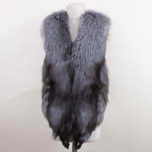 100% real natural fox fur vest fashion winter sleeveless New style Silver fox short coats Good quality Fur gilet
