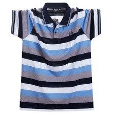 Мужская рубашка поло размера плюс, лето, Мужская Повседневная дышащая полосатая рубашка поло с коротким рукавом, хлопок, деловая рубашка поло, 5XL, одежда, топы