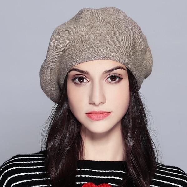 Женский берет модная шляпа для зимы женские вязаные хлопковые шерстяные шапки шапка осеньняя брендовые новые женские головные уборы# MZ729 - Цвет: Coffee