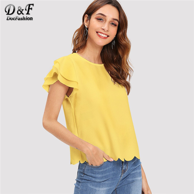 Dotfashion Solid Layered Ruffle Sleeve Scallop Hem Summer Tops For Women 2019 Elegant Korean Fashion Womens Tops And Blouses