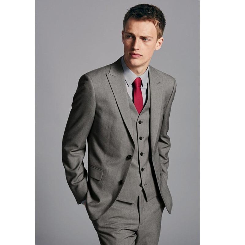 Custom Made Mens Wedding Suits Groom Tuxedos Grey Groomsmen Formal Party Suits wedding suits for men (jacket + pants + vest)