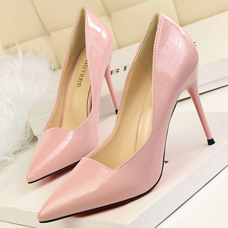 European Style 2017 High Heels Women Pumps Stone Pattern Mirror Pointed Toe Shoes Woman Sexy Slip On Metal Females Pumps 2017 shoes women med heels tassel slip on women pumps solid round toe high quality loafers preppy style lady casual shoes 17