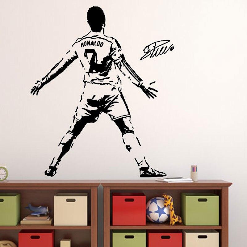 Cristiano Ronaldo Muurtattoo Sticker Voetbal Voetballer Portugal Creatieve Vinyl Thuis decal Sport Muurstickers voor bay