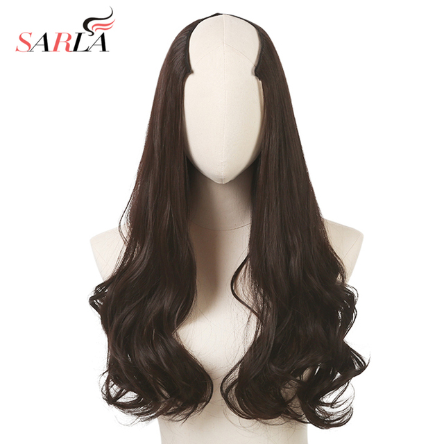 SARLA 200pcs/lot Hair Extension Long Synthetic Curly Clip in Hair Extensions U part Natural Hairpieces UH17