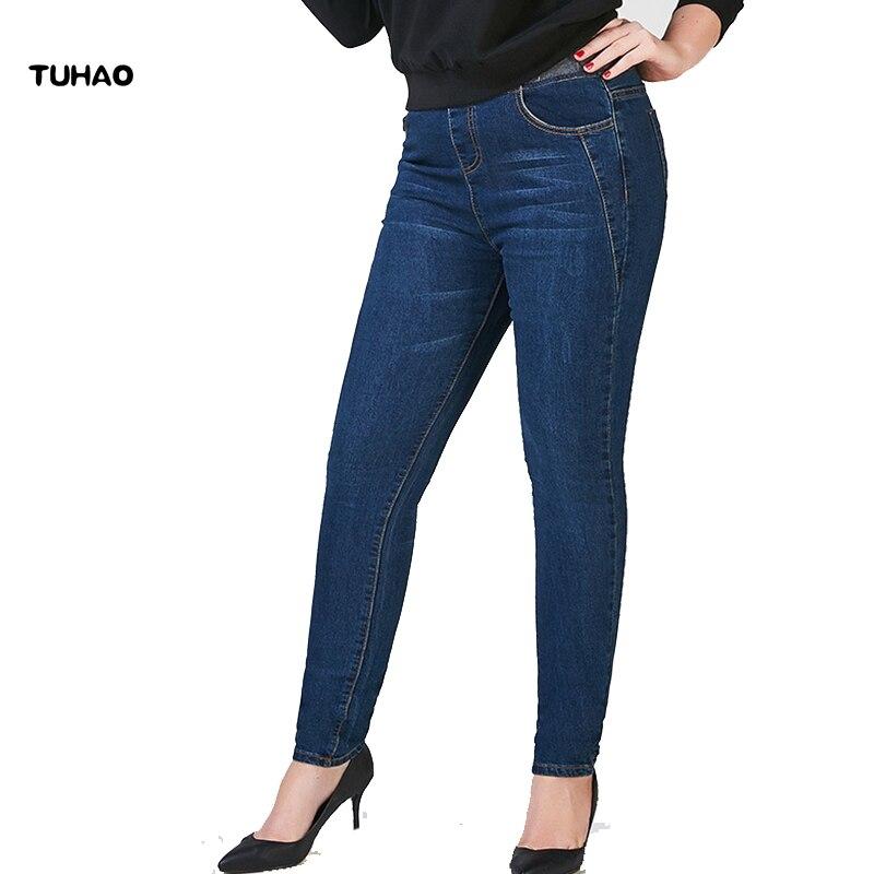 2019 Plus Size 8XL 7XL 6XL JeansWoman Denim Pencil Pants Large Size Stretch Jeans High Waist Pants Women Jeans Casual Pants PT11