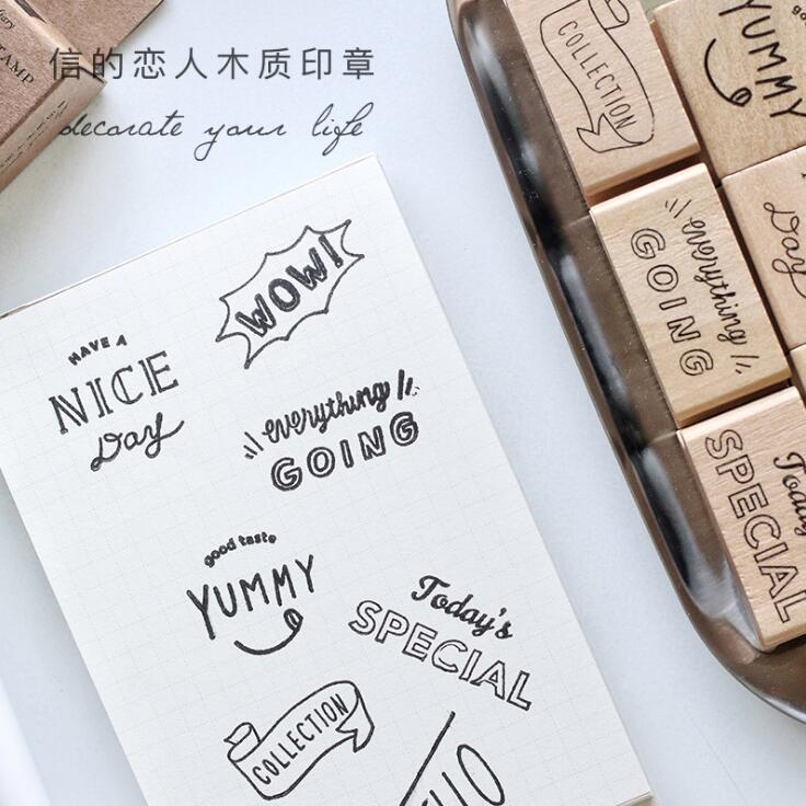 Special Greeting English Letter Wooden Rubber DIY Stamp Student Prize Promotional Gift Stationery