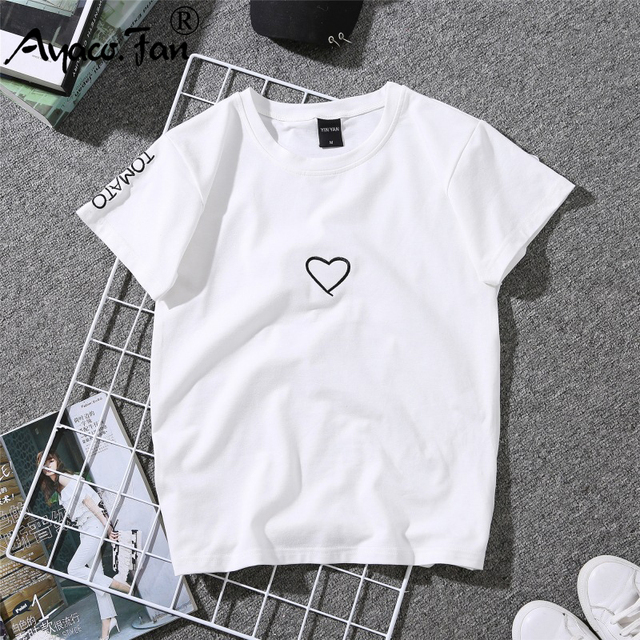 2019 Coppie di Estate Gli Amanti della T-Shirt per la Signora Studente Casual Bianco Magliette e camicette T-Shirt Donna Del Cuore di Amore Del Ricamo Della Stampa Della Maglietta Femminile 3
