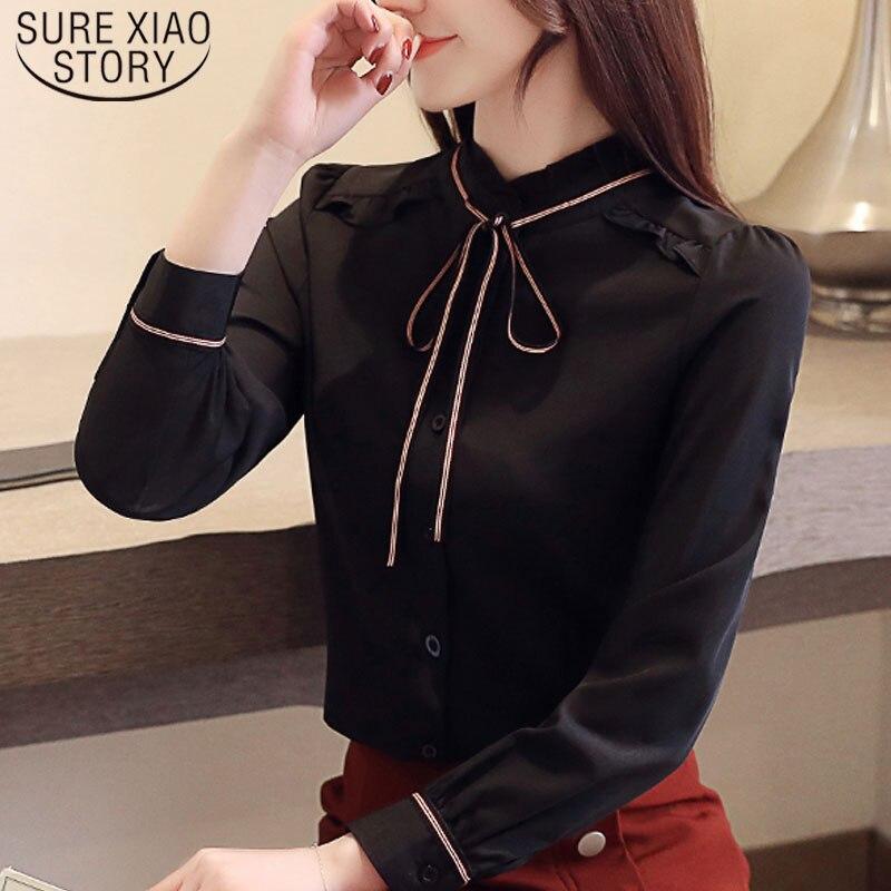 Женская шифоновая блузка с длинными рукавами 2019 с пышными рукавами, белая и черная модная одежда с воротником стоячим 5112 50