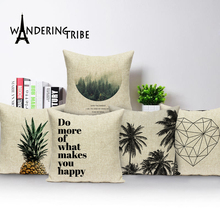 цены на Geometric Cushions Custom Pineapple  Cushion covers Linen Pillow Botanical Throw pillows Outdoor Home Decorative Cushion Cover  в интернет-магазинах
