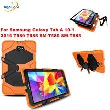 2017 Nuevo Soporte de La Cubierta para Samsung Galaxy Tab 10.1 T580N T580 Tablet Caso Híbrido Heavy Duty de Silicona envío gratis + stylus + film