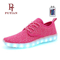 PU TIAN 7 Color USB Charge Flashing Led Shoes High Quality Boys Girls Luminous Sneakers New