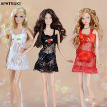 4sets/lot Sexy Pajamas Lingerie Lace Costumes + Bra + Underwear Clothes For Barbie Doll Clothes Hot Sell Lace Dress(China)