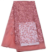african lace fabric baby pink swiss voile high quality sequin For Nigerian Wedding Dress French Lace Fabric SX
