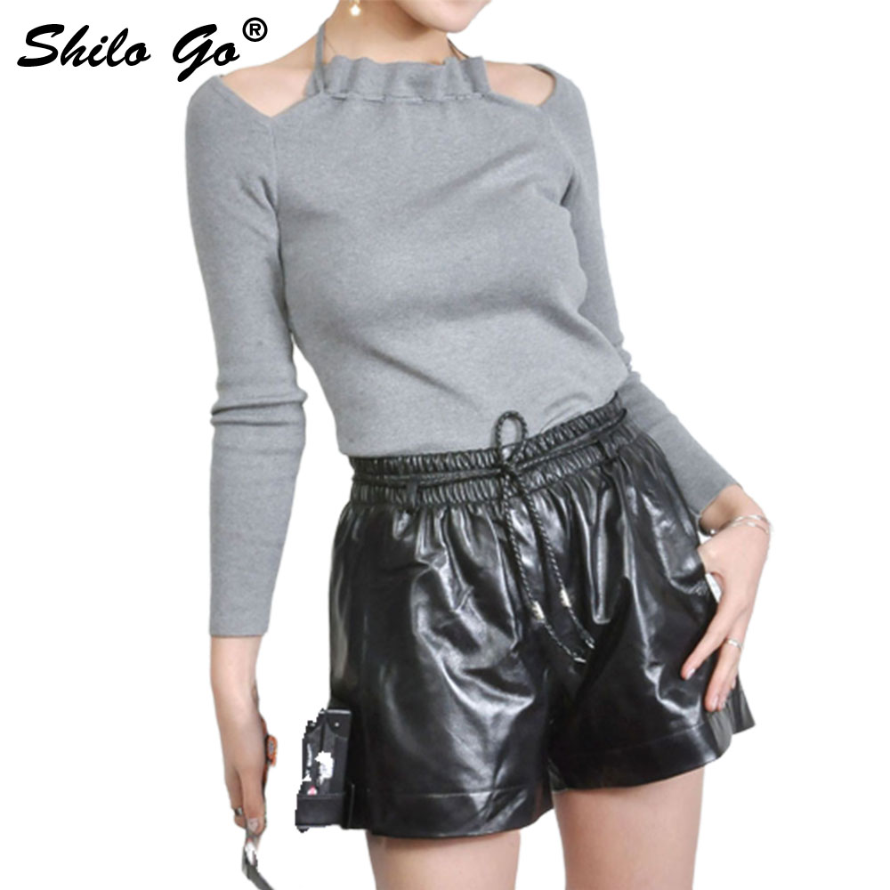 Leather Shorts Womens Spring Fashion Sheepskin Genuine Leather Shorts Tie Stretch High Waist Casual Wide Leg Shorts