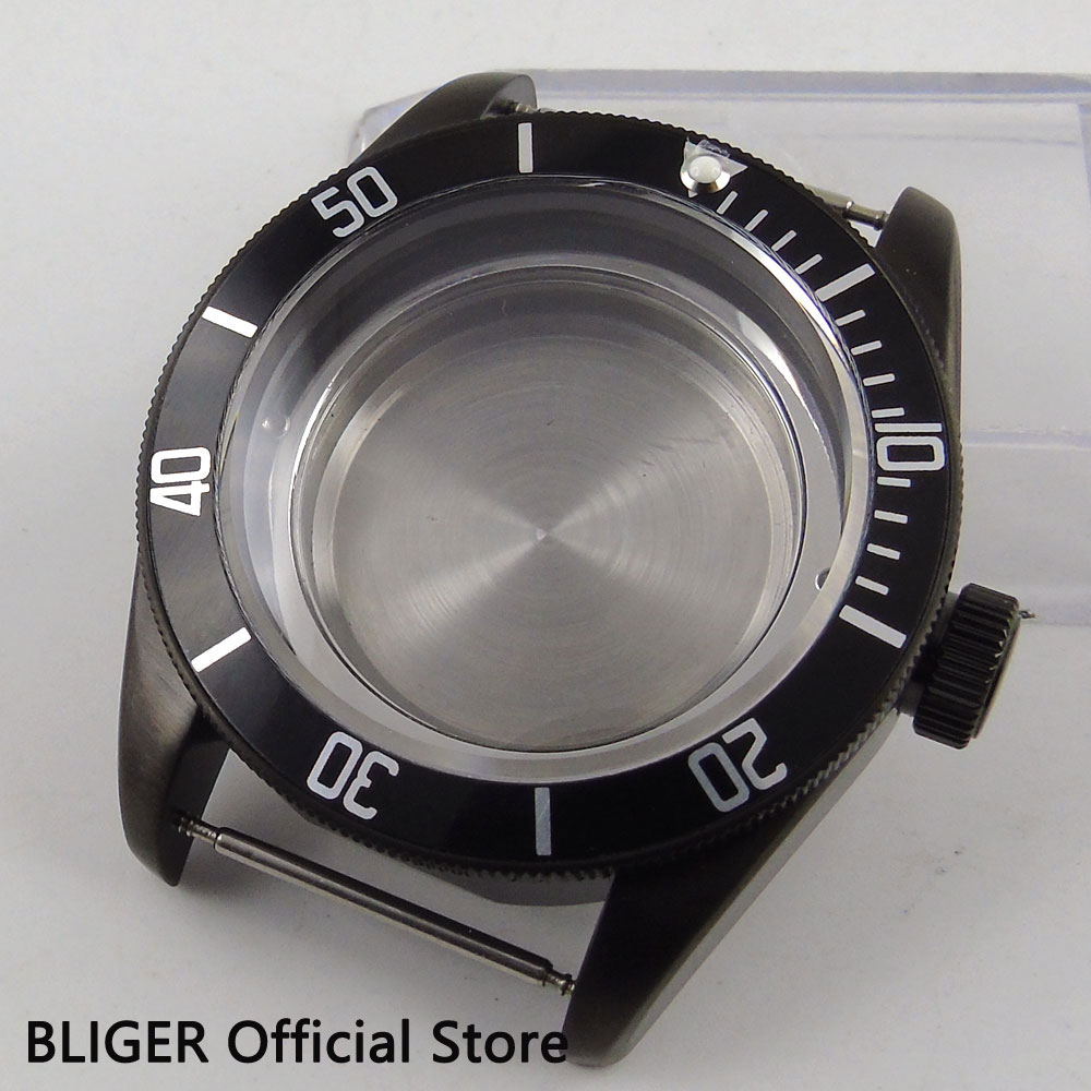 Solide 41mm Schwarz PVD Beschichtet Edelstahl Uhr Gehäuse Sapphire Kristall Fit Für ETA 2824 2836 Automatische Bewegung C121-in Zifferblätter aus Uhren bei  Gruppe 1