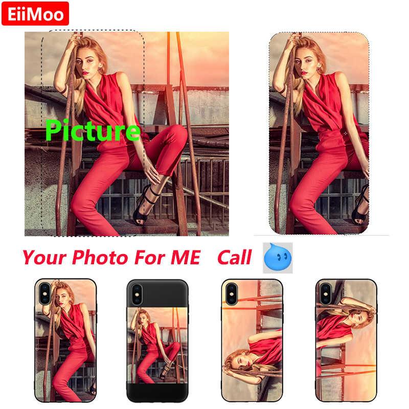 EiiMoo Photo Custom ized Phone Case For iPhone XS Max XR X Case Silicone Black Cover iPhone 6 S 7 8 Plus Picture DIY Funda Coque