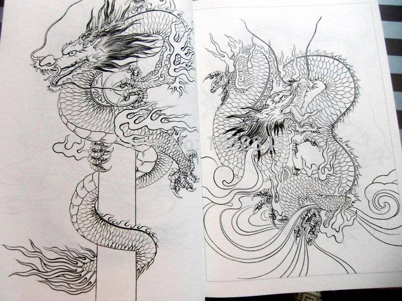 Free Shipping Dragon Phoenix Outline Drawing Chinese