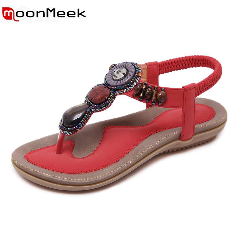 MoonMeek woman sandals ethnic style Agate beads Bohemia fashion sweet summer shoes  comfortable new arrive hot sale