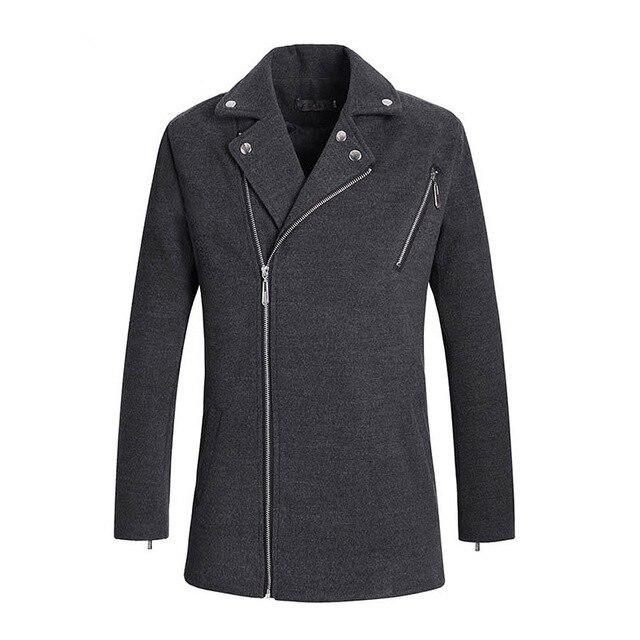 Fashion Plus Size Solid Color Woolen Coat Button Up Collar Casual Men Nezi Coat For Man Self-cultivation LB