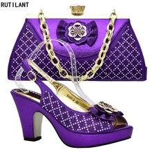 40b008ed5 Nueva llegada zapatos de boda y bolsa Color púrpura zapatos italianos con  bolsos a juego las