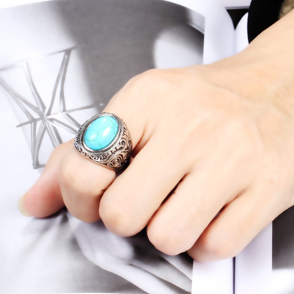 Wholesale Retro jewelry titanium steel inlaid black onyx ring men domineering  ring 2