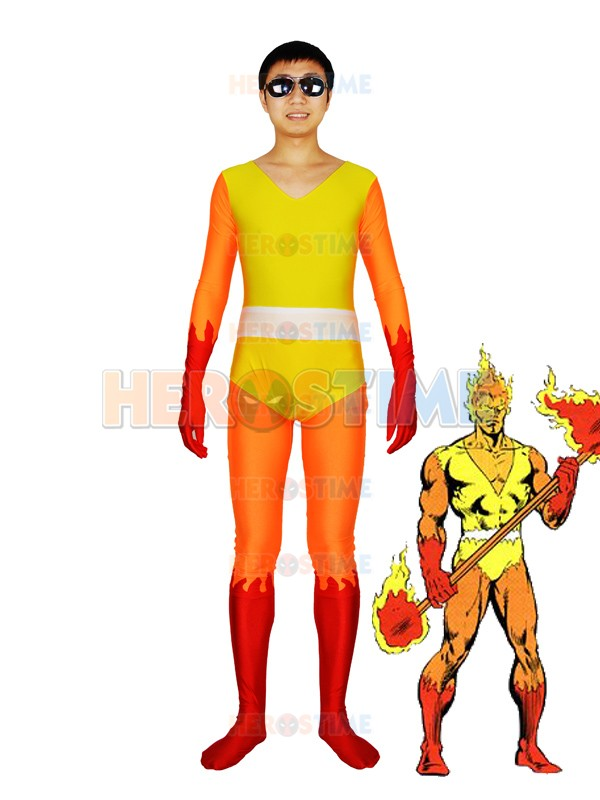 FireLord Costume yellow and orange Spandex fullbody FireLord Pyreus Kril Superhero Adults Costume Halloween Cosplay suit