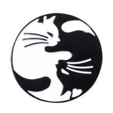 Cute day and night hugging cat enamel pin Black White Yin yang Cat Galaxy animal badge Couple gift