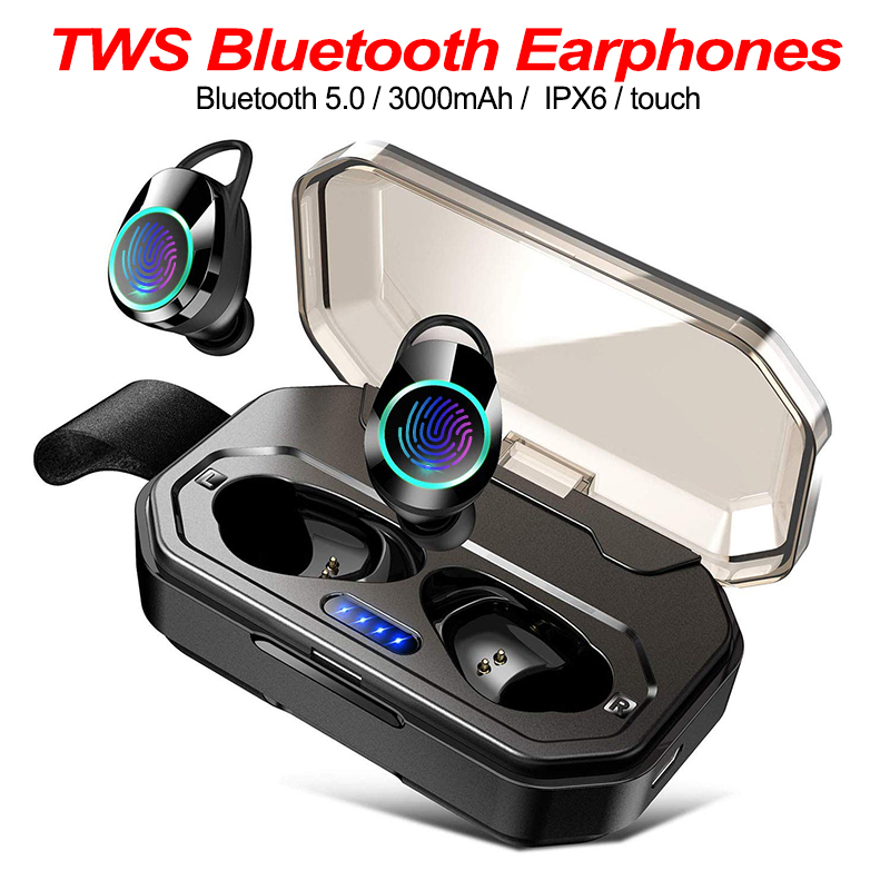Wireless Earphones 5.0 Bluetooth 3D Deep Bass Waterproof Headset TWS Cordless Earphones with 3000mAh Power Bank for IOS Android