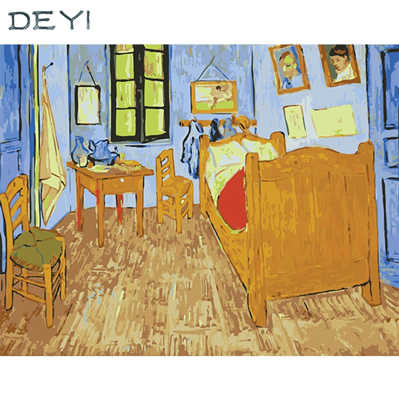 DEYI 40*50cm Diy Oil Painting Van Gogh - Arles Bed Decorative Linen Canvas Painting Framed Mirrors Wall Decor For Living Room