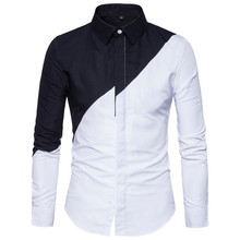 TOLINA Cosplay Korean version of the trend black white stitching men's long-sleeved