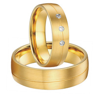 Custom Bridal Pair 2015 new gold color alliances anel titanium steel couples rings wedding band sets for men and women