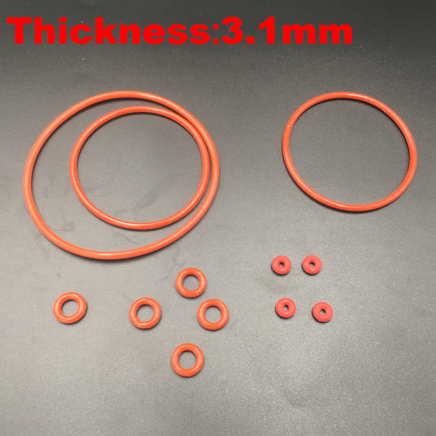 60pcs 22x3.1 22*3.1 23x3.1 23*3.1 24x3.1 24*3.1 25x3.1 (OD*Thickness) VMQ Food Grade Red Silicone Oil Seal O Ring O-Ring Gasket o ring for eheim 2213 and 2013 canister filters red