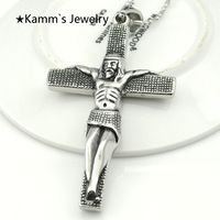 80mm*47mm Crucifix Big Jesus Piece Cross Pendant Necklace High Quality 316L Stainless Steel Free Shipping Wholesale KP328